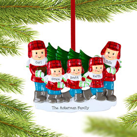 Personalized Tree Family of 5 Christmas Ornament