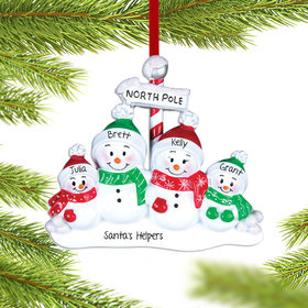 Personalized North Pole Family of 4 Christmas Ornament