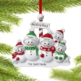 Personalized North Pole Family of 5 Christmas Ornament