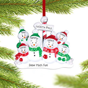 Personalized North Pole Family of 6 Christmas Ornament