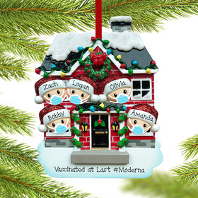 Personalized Vaccine Pandemic Family of 5 Christmas Ornament