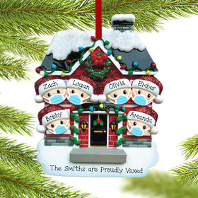 Personalized Vaccine Pandemic Family of 6 Christmas Ornament