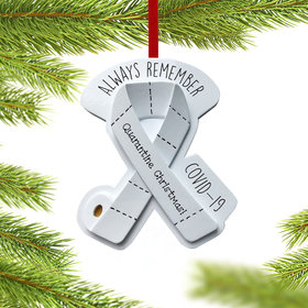 Personalized Quarantine Ribbon Always Remember Christmas Ornament