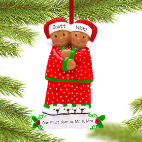 Personalized African American Pajama Family of 2 Christmas Ornament