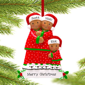 Personalized African American Pajama Family of 3 Christmas Ornament