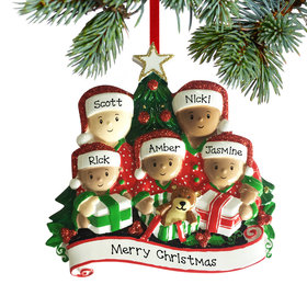 Personalized Opening Presents Biracial Family of 5 Christmas Ornament