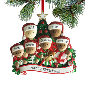 Personalized Opening Presents Biracial Family of 6 Christmas Ornament