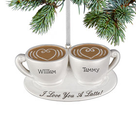 Personalized I Love You Latte Christmas Ornament
