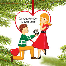 Personalized Engaged Couple Christmas Ornament