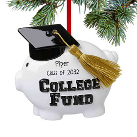 Personalized College Fund Piggy Brank Christmas Ornament