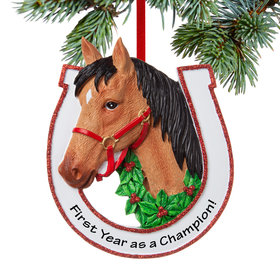 Personalized Brown Horse Christmas Ornament
