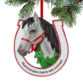 Personalized Grey Horse Christmas Ornament