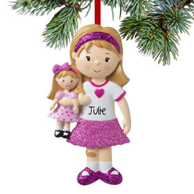 Personalized Girl with Doll Christmas Ornament