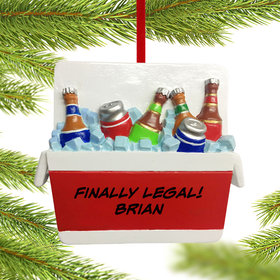 Personalized Cooler Full of Beer Christmas Ornament