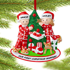 Personalized Couple Decorating the Tree Christmas Ornament