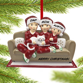 Personalized Couch Family of 3 with Cat Christmas Ornament