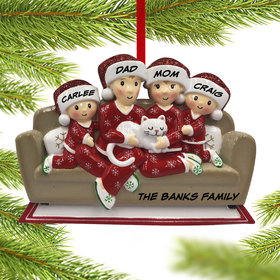 Personalized Couch Family of 4 with Cat Christmas Ornament