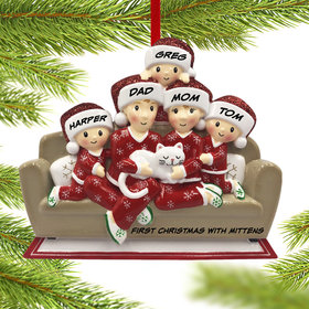 Personalized Couch Family of 5 with Cat Christmas Ornament