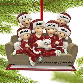 Personalized Couch Family of 6 with Cat Christmas Ornament