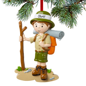 Personalized Boy Hiking with Walking Stick Christmas Ornament
