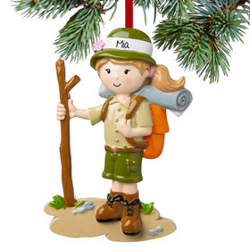 Personalized Girl Hiking with Walking Stick Christmas Ornament
