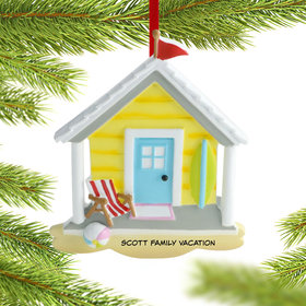 Personalized Yellow Beach House Christmas Ornament