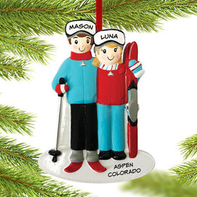 Personalized Ski Family of 2 Christmas Ornament