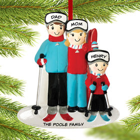 Personalized Ski Family of 3 Christmas Ornament