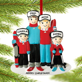 Personalized Ski Family of 4 Christmas Ornament