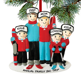 Personalized Ski Family of 5 Christmas Ornament