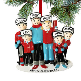 Personalized Ski Family of 6 Christmas Ornament