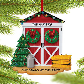Personalized Barn Door Christmas Ornament