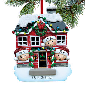 Personalized New House Family of 3 Christmas Ornament