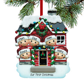 Personalized New House Family of 5 Christmas Ornament