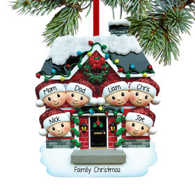 Personalized New House Family of 6 Christmas Ornament