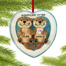 Personalized Otter Couple Christmas Ornament