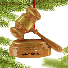 Personalized Judge's Gavel Christmas Ornament