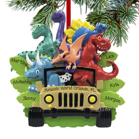 Personalized Dino Family of 6 Christmas Ornament