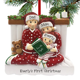 Personalized Reading in Bed Family of 3 Christmas Ornament