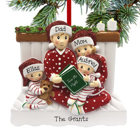 Personalized Reading in Bed Family of 4 Christmas Ornament