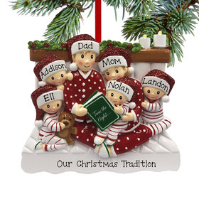 Personalized Reading in Bed Family of 6 Christmas Ornament
