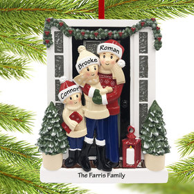 Personalized Farm House Family of 3 Christmas Ornament