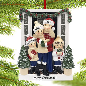 Personalized Farm House Family of 4 Christmas Ornament