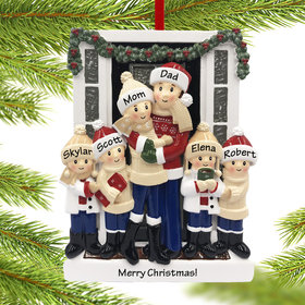 Personalized Farm House Family of 6 Christmas Ornament