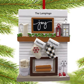 Personalized Fireplace Mantle Couple Christmas Ornament