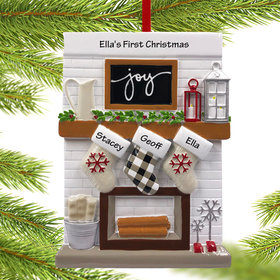 Personalized Fireplace Mantle Family of 3 Christmas Ornament