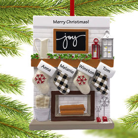 Personalized Fireplace Mantle Family of 4 Christmas Ornament