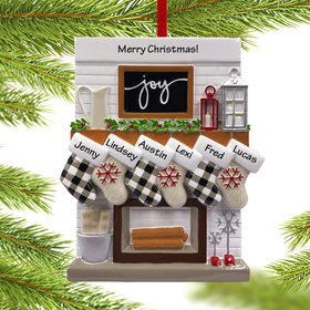 Personalized Fireplace Mantle Family of 6 Christmas Ornament