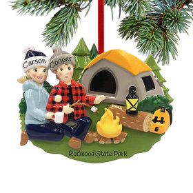 Personalized Camp Fire Couple Christmas Ornament