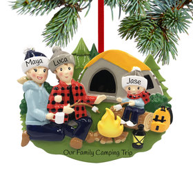 Personalized Camp Fire Family of 3 Christmas Ornament